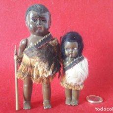 Muñecas Composición: ANTIGUOS MUÑECOS - PAREJA DE NEGRITOS AFRICANOS EN COMPOSICION PP S. XX. Lote 188703555