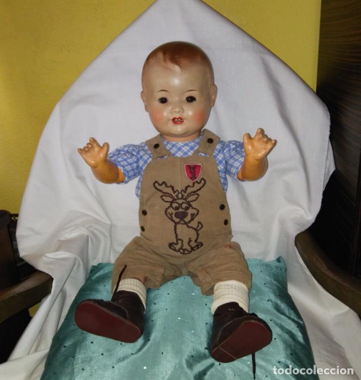 Muñecas Composición: Antigua muñeca alemana, antiguo muñeco 65 cmtrs. Composición. - Foto 8 - 166382813