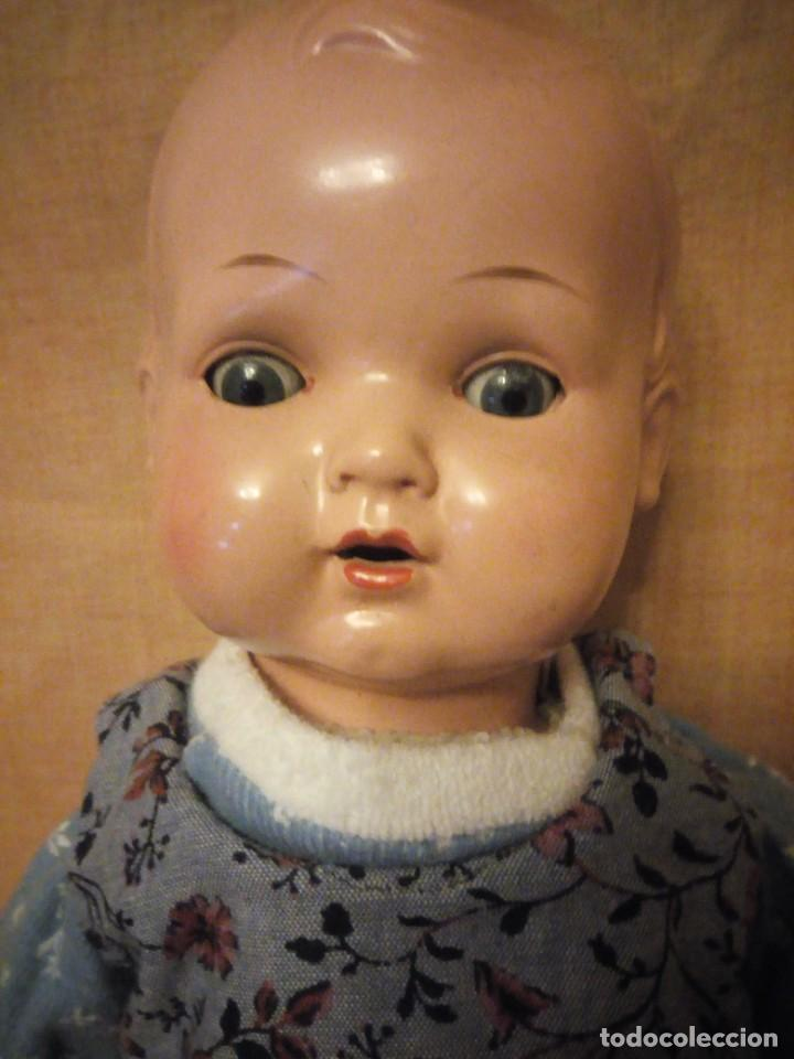 Muñecas Composición: Antiguo muñeco tortuga de composición,cabeza de celuloide,cuero de tejido relleno de serrín.años 50 - Foto 4 - 191744348