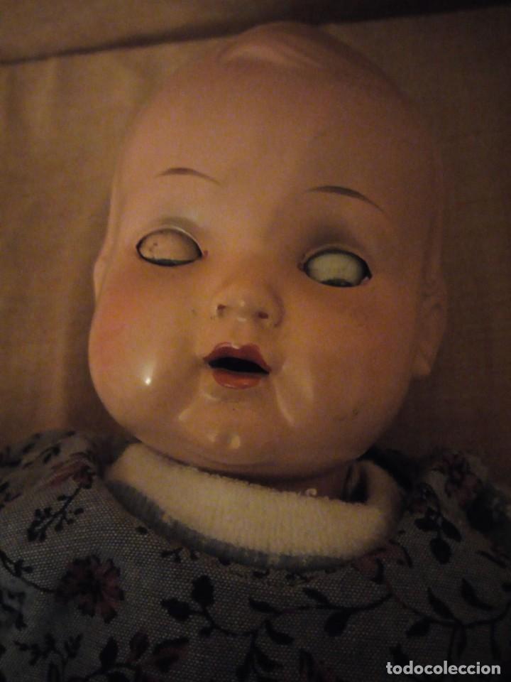 Muñecas Composición: Antiguo muñeco tortuga de composición,cabeza de celuloide,cuero de tejido relleno de serrín.años 50 - Foto 9 - 191744348