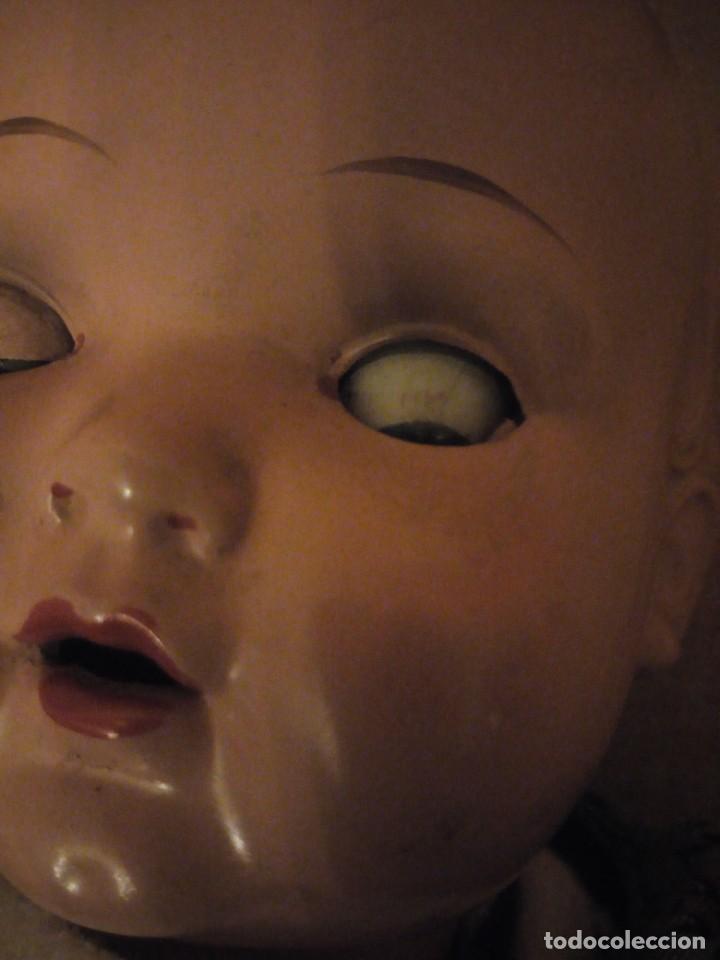 Muñecas Composición: Antiguo muñeco tortuga de composición,cabeza de celuloide,cuero de tejido relleno de serrín.años 50 - Foto 10 - 191744348