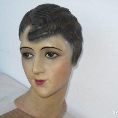 Muñecas Composición: BUSTO FRANCÉS EN ESTUCO O ESCAYOLA, POLICROMADO. AÑOS 1920. Lote 212518932
