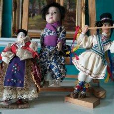 Muñecas Composición: 3 MUNECAS TRADICIONALES - JAPÓN - ROMANIA - SERVIA. Lote 282548238