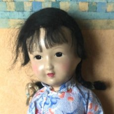 Muñecas Composición: MUÑECA CHINA CARA COMPOSICION Y CUERPO DE TRAPO. ROPA DE ORIGEN. AÑOS 40.50. SIN MARCA. Lote 295309623