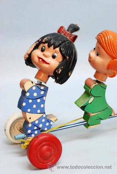 Muñecas Españolas Modernas: Arrastre Familia Telerín Telerines Vamos a la cama muñecos madera con cabeza plástico años 60 - Foto 2 - 39153755