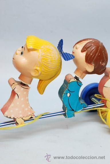 Muñecas Españolas Modernas: Arrastre Familia Telerín Telerines Vamos a la cama muñecos madera con cabeza plástico años 60 - Foto 4 - 39153755