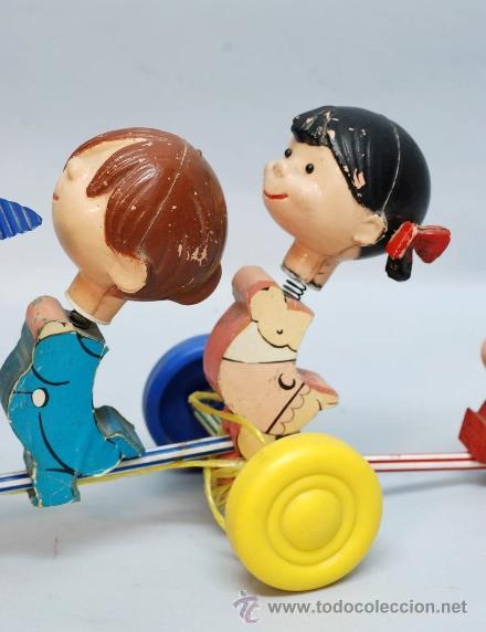 Muñecas Españolas Modernas: Arrastre Familia Telerín Telerines Vamos a la cama muñecos madera con cabeza plástico años 60 - Foto 5 - 39153755
