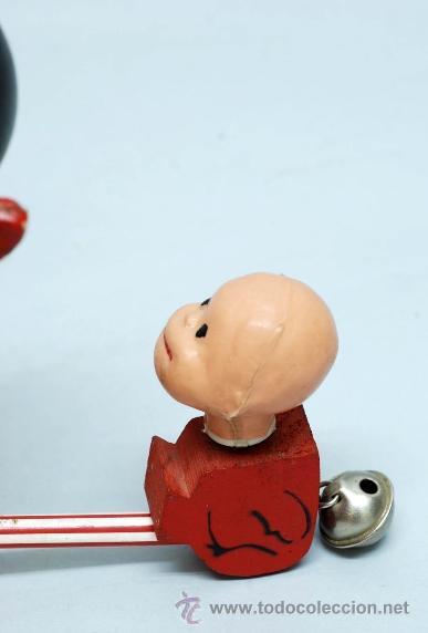 Muñecas Españolas Modernas: Arrastre Familia Telerín Telerines Vamos a la cama muñecos madera con cabeza plástico años 60 - Foto 6 - 39153755