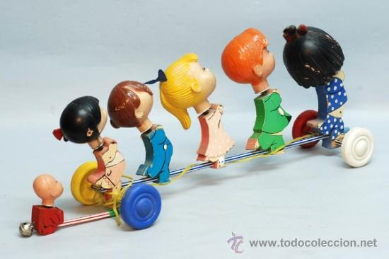 Muñecas Españolas Modernas: Arrastre Familia Telerín Telerines Vamos a la cama muñecos madera con cabeza plástico años 60 - Foto 7 - 39153755