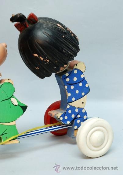 Muñecas Españolas Modernas: Arrastre Familia Telerín Telerines Vamos a la cama muñecos madera con cabeza plástico años 60 - Foto 8 - 39153755