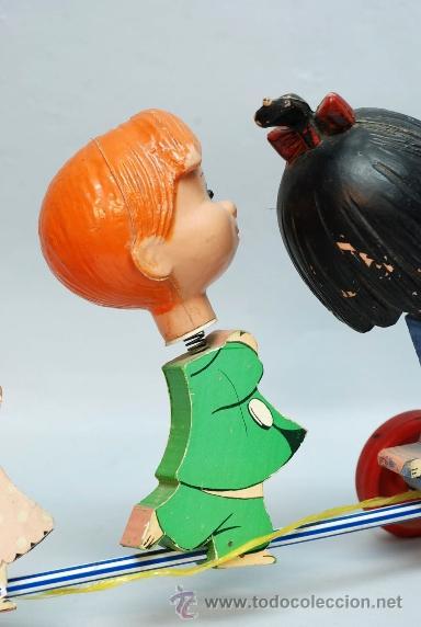 Muñecas Españolas Modernas: Arrastre Familia Telerín Telerines Vamos a la cama muñecos madera con cabeza plástico años 60 - Foto 9 - 39153755