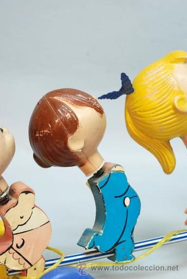 Muñecas Españolas Modernas: Arrastre Familia Telerín Telerines Vamos a la cama muñecos madera con cabeza plástico años 60 - Foto 12 - 39153755