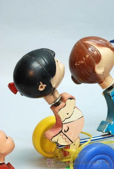 Muñecas Españolas Modernas: Arrastre Familia Telerín Telerines Vamos a la cama muñecos madera con cabeza plástico años 60 - Foto 11 - 39153755