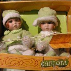 Muñecas Españolas Modernas: MUÑECAS PORCELANA GEMELAS CARLOTA DE LA CASA ABG. Lote 39955427