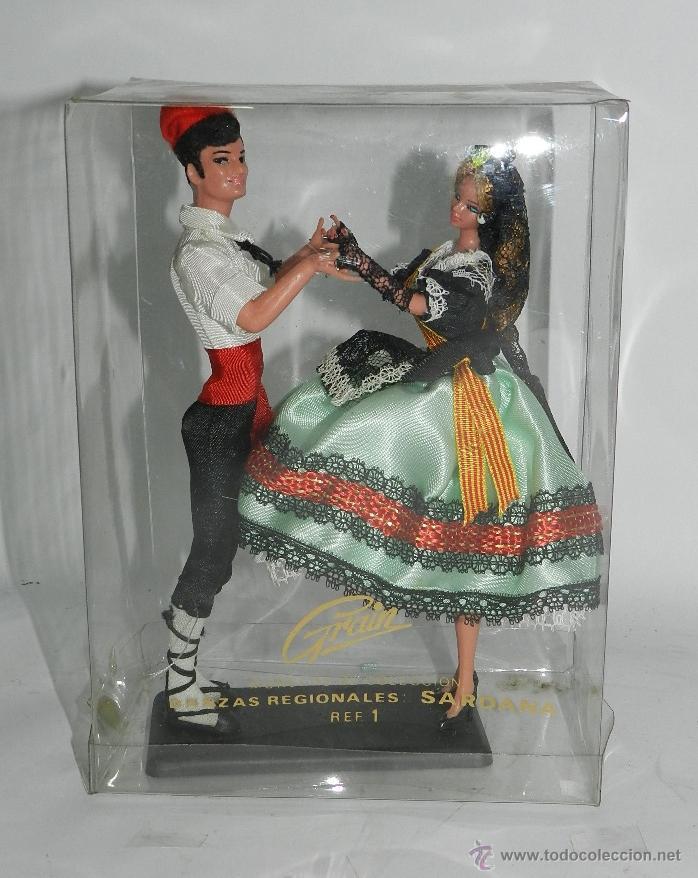 MUÑECAS GRAIN, PAREJA BAILANDO LA SARDANA, CATALUÑA, CATALUNYA, MIDEN 19 CMS. (Juguetes - Otras Muñecas Españolas Modernas)