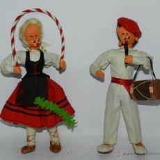 Muñecas Españolas Modernas: PAREJA DE MUÑECOS DE FIELTRO DE DANZAS POPULARES DE NAVARRA O PAIS VASCO, MIDE 23 CMS.. Lote 43856770