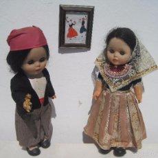 Muñecas Españolas Modernas: PAREJA DE MUÑECOS ANTIGUOS CON EL TRAJE REGIONAL DE MALLORCA, 38 CM. AÑOS 60-70. Lote 50354522