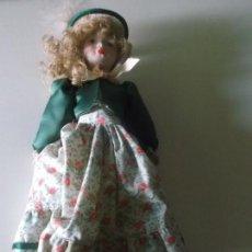 Muñecas Españolas Modernas: MUÑECA DE PORCELANA ANTIGUA MARCA FANAS 35 CM CON LA CAJA ORIGINAL,MUÑECA DE COLECCION. Lote 73461707