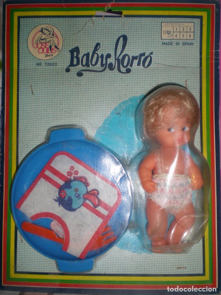 MUÑECO BABY RORRO+ ACCESORIOS,MARCA JOSE QUILIS ONIL SPAIN AÑOS 60 NUEVO SIN USO RESTOS DE FABRICA (Juguetes - Otras Muñecas Españolas Modernas)