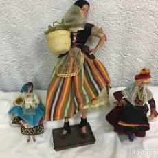 Muñecas Españolas Modernas: 3 MUÑECAS GRAIN Y MARIN DE CHICLANA CANARIAS DIFERENTES MEDIDAS Y TRAJES REGIONALES. Lote 129079339