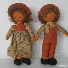 Muñecas Españolas Modernas: PAREJA DE MUÑECOS DE TRAPO - MUÑECA Y MUÑECO - ORIGINALES - AÑOS 70-80. Lote 134852954