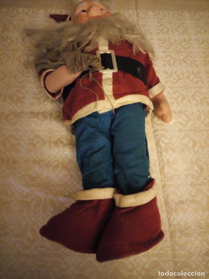 Muñecas Españolas Modernas: Antiguo muñeco papa noel cuerpo de relleno cara de celuloide pelo y barba moahir WERLI o florido. - Foto 4 - 141605462