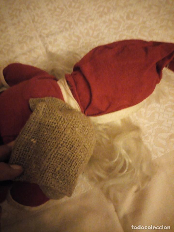 Muñecas Españolas Modernas: Antiguo muñeco papa noel cuerpo de relleno cara de celuloide pelo y barba moahir WERLI o florido. - Foto 6 - 141605462