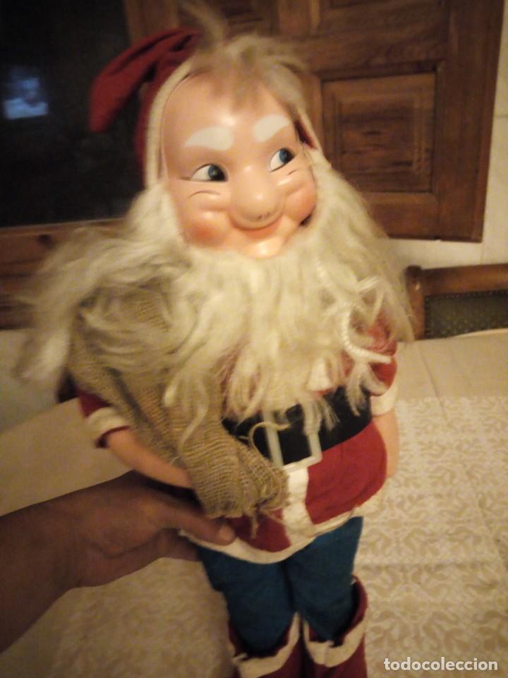 Muñecas Españolas Modernas: Antiguo muñeco papa noel cuerpo de relleno cara de celuloide pelo y barba moahir WERLI o florido. - Foto 10 - 141605462