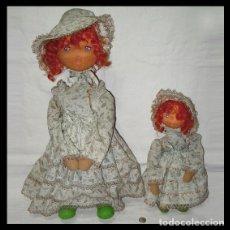 Muñecas Españolas Modernas: MADRE E HIJA. PAREJA DE MUÑECAS PELIRROJAS, CARA FIELTRO. PROBABLEMENTE LAYNA. AÑOS 60. Lote 46621205