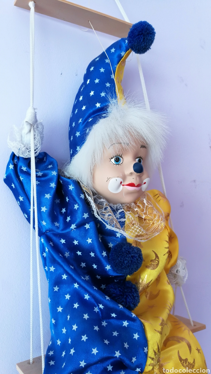 Muñecas Españolas Modernas: Gran Títere payaso marioneta arlequín - Foto 3 - 158275372