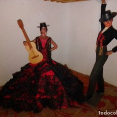 Muñecas Españolas Modernas: ANTIGUA PAREJA FLAMENCA MANUELA REYES Y ANTONIO ARACENA, DE MARÍN, CHICLANA. 31 CMS.. Lote 180188190