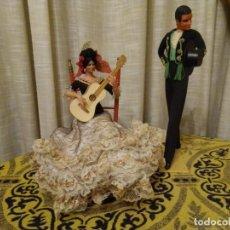 Muñecas Españolas Modernas: ANTIGUA PAREJA FLAMENCA DE MARÍN, DE CHICLANA. 32 CMS.. Lote 194257173