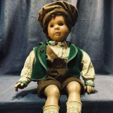 Muñecas Españolas Modernas: MUÑECO ORIGINAL J A A GORRO PANA PANTALON CHALECO ZAPATOS PIEL 60X33CMS. Lote 195274760