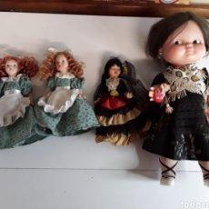 Muñecas Españolas Modernas: LOTE DE 4 MUÑECAS 3 DE ELLAS EN CELULOIDE Y 1 CON OJOS DURMIENTES. Lote 203588701