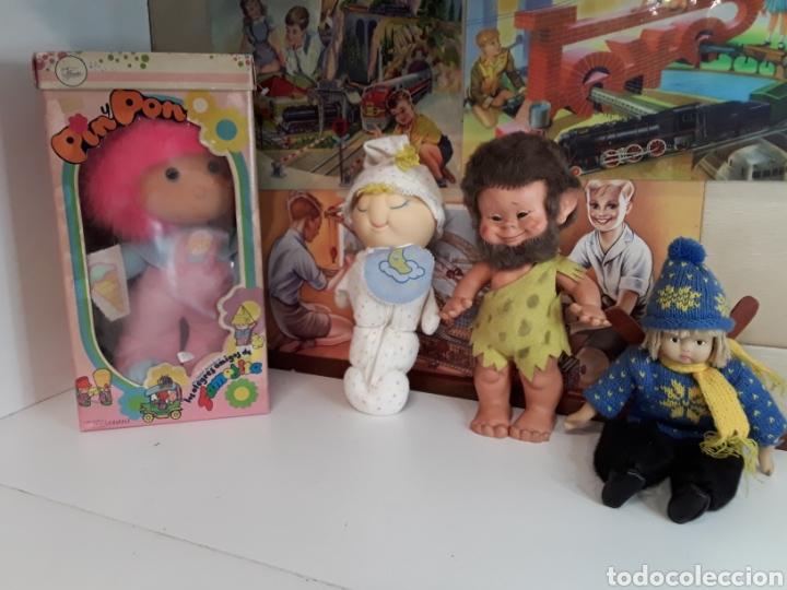 LOTE DE 4 MUÑECAS Y MUÑECOS ANTIGUOS (Juguetes - Otras Muñecas Españolas Modernas)