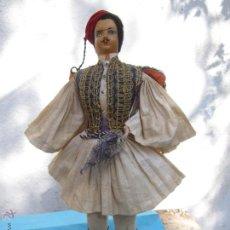 Muñecas Extranjeras: MUÑECO ETNOLOGICO GRIEGO - CABEZA DE CUERO- PROCEDE DE GRECIA. Lote 47681533