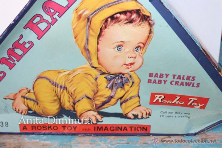 ANTIGUO MUÑECO A PILAS - CALL ME BABY - ROSKO TOY - FUNCIONA - AÑOS 60 - GATEA Y HABLA COMO UN BEBE (Juguetes - Muñeca Extranjera Antigua - Otras Muñecas)