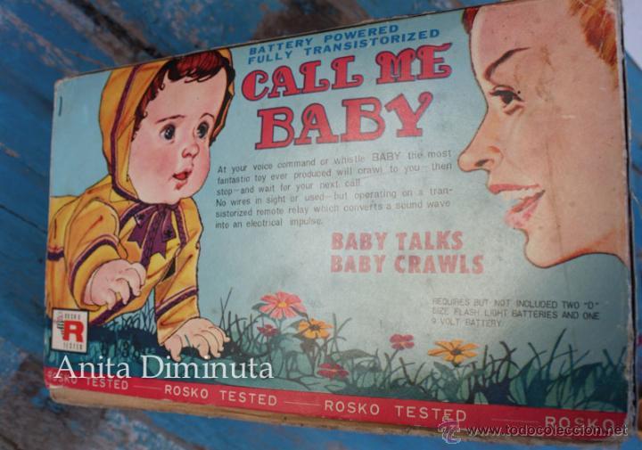 Muñecas Extranjeras: ANTIGUO MUÑECO A PILAS - CALL ME BABY - ROSKO TOY - FUNCIONA - AÑOS 60 - GATEA Y HABLA COMO UN BEBE - Foto 3 - 50983401