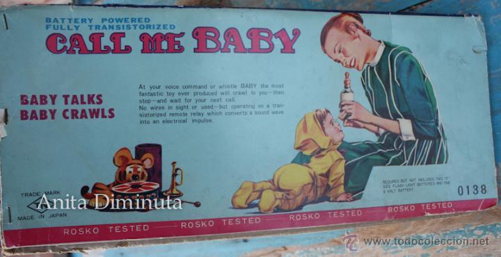 Muñecas Extranjeras: ANTIGUO MUÑECO A PILAS - CALL ME BABY - ROSKO TOY - FUNCIONA - AÑOS 60 - GATEA Y HABLA COMO UN BEBE - Foto 7 - 50983401