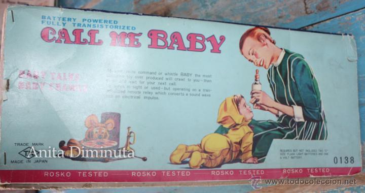 Muñecas Extranjeras: ANTIGUO MUÑECO A PILAS - CALL ME BABY - ROSKO TOY - FUNCIONA - AÑOS 60 - GATEA Y HABLA COMO UN BEBE - Foto 8 - 50983401