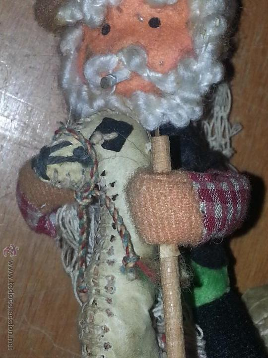 ANTIGUO MUÑECO PESCADOR MONTADO SOBRE UNA LLAMA YAMA EN PIEL NATURAL (Juguetes - Muñeca Extranjera Antigua - Otras Muñecas)