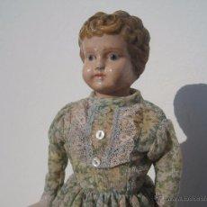 Muñecas Extranjeras: MUÑECA ALEMANA, PECTORAL Y CABEZA DE METAL PINTADA, MUY ANTIGUA, 1888, ALFRED HELLER. 33 CM.. Lote 53485328