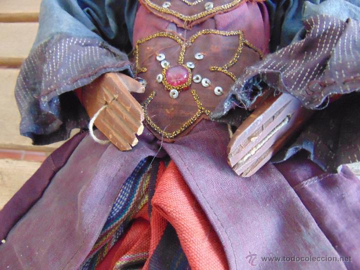 Muñecas Extranjeras: MARIONETA TITERE TAILANDESA EN MADERA Y TELA MIDE LA FIGURA 60 CM - Foto 6 - 53764339