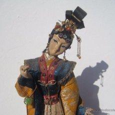 Muñecas Extranjeras: PRECIOSA MUÑECA ANTIGUA JAPONESA DE TELA,CON BONITO KIMONO ORIGINAL, AÑOS 40-50, GRAN TAMAÑO 50 CM.. Lote 53806883