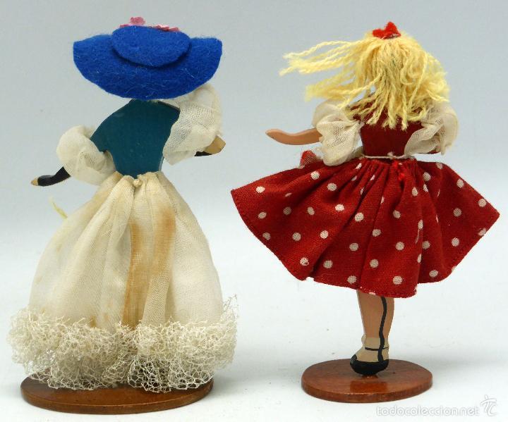 Muñecas Extranjeras: 2 muñeca cuerpo madera cara trapo vestido tela años 50 13 cm alto - Foto 2 - 57345793
