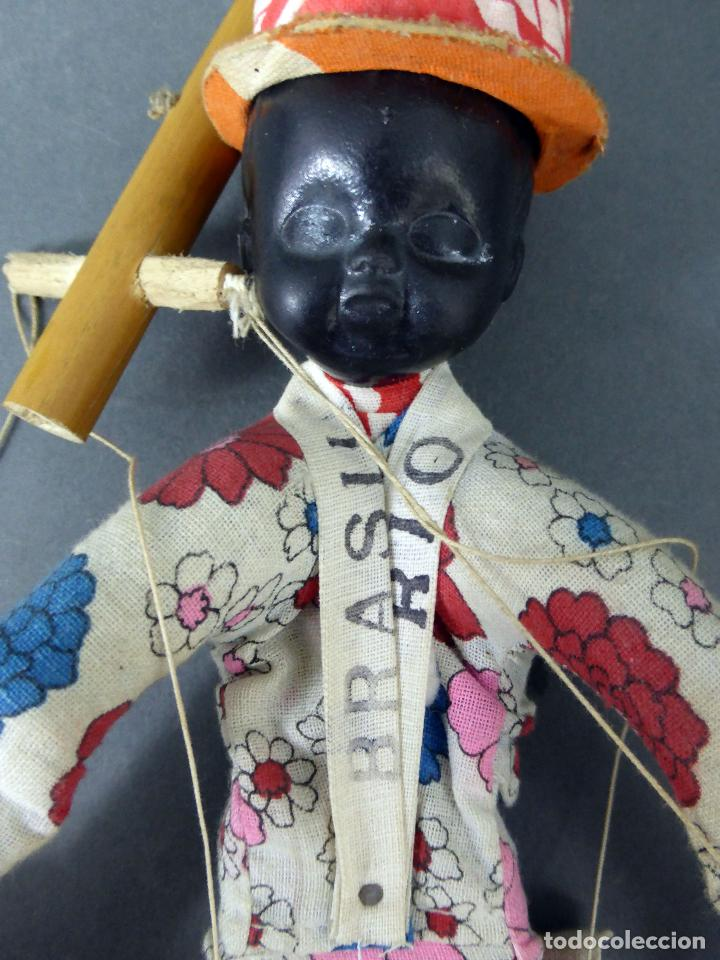 Muñecas Extranjeras: Marioneta souvenir Río Brasil madera tela plástico años 60 34 cm alto - Foto 2 - 72782231