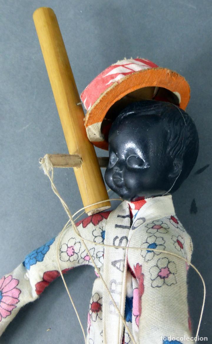 Muñecas Extranjeras: Marioneta souvenir Río Brasil madera tela plástico años 60 34 cm alto - Foto 3 - 72782231