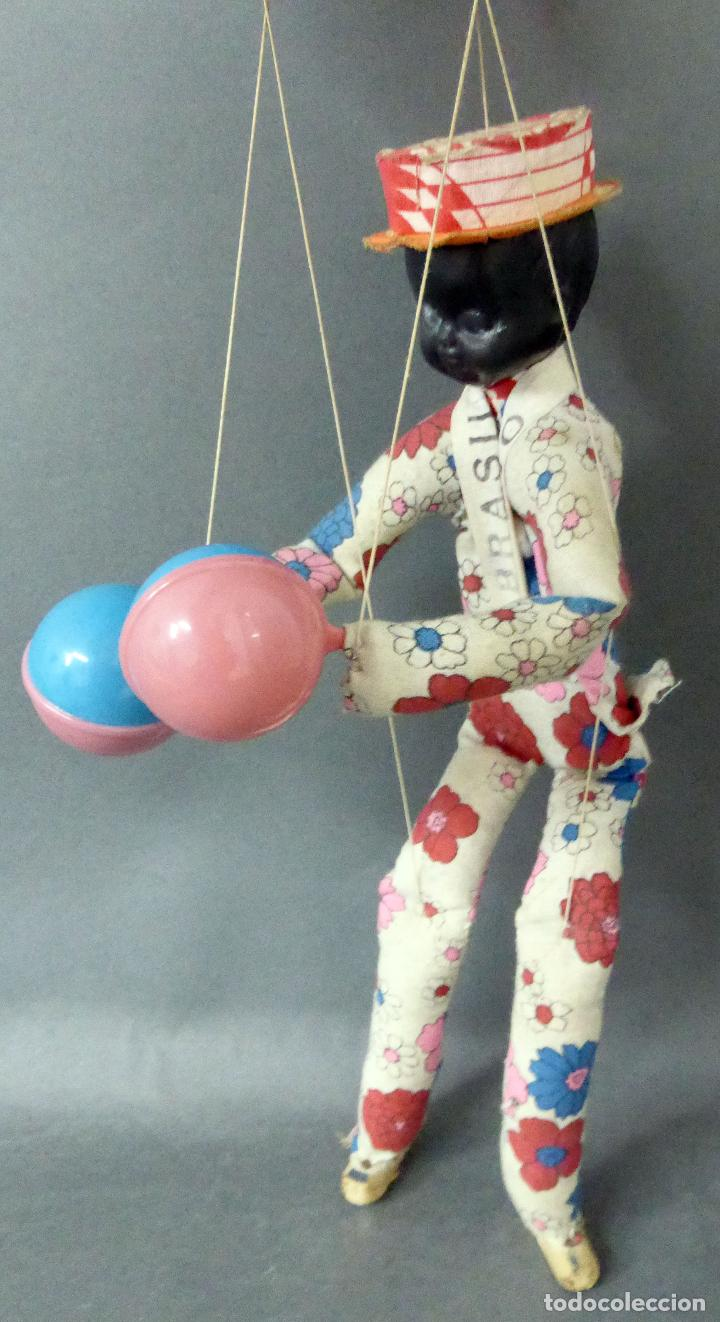 Muñecas Extranjeras: Marioneta souvenir Río Brasil madera tela plástico años 60 34 cm alto - Foto 5 - 72782231