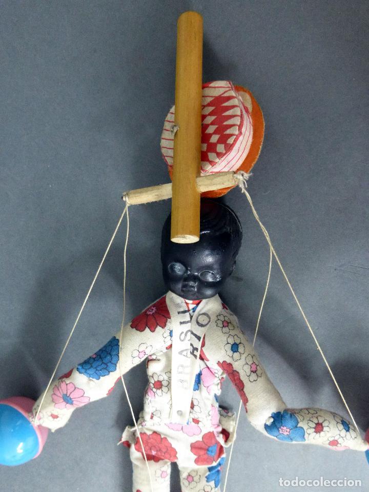 Muñecas Extranjeras: Marioneta souvenir Río Brasil madera tela plástico años 60 34 cm alto - Foto 6 - 72782231