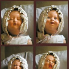 Muñecas Extranjeras: MUÑECA ANTIGUA DE CUATRO CARAS. CAMBIA DE CARA APRETANDO EL BOTÓN DEL PECHO. AÑOS 40. Lote 75911699